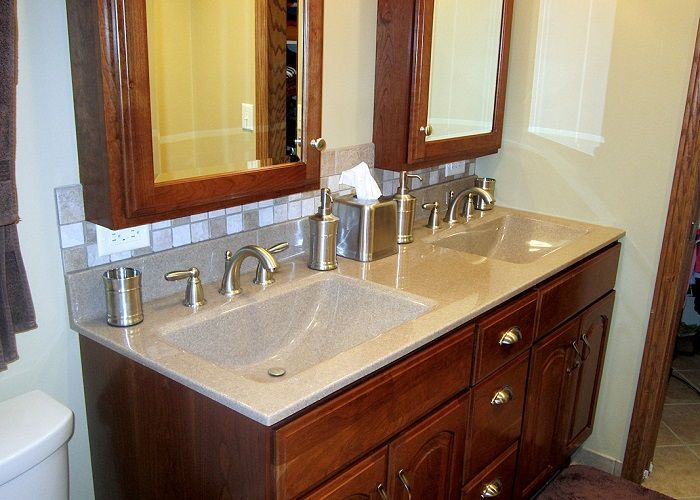 Double wave sinks similar cabinet lay out except doors go all the way up no faux drawer panel for Bathroom vanity tops houston tx