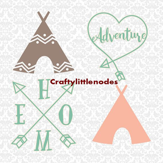 TeePee Camping Adventure Arrow SVG STUDIO Ai by CraftyLittleNodes
