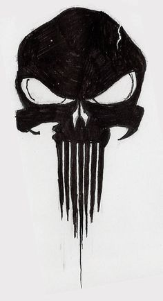The Punisher- justifiable justice? One side solid and shining, gradient darker into sharp and dripping side. Justice he serves to the blood he sheds