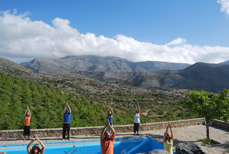 Yoga lessons with a stunning view of the highest mountain of Crete, Mount Idi.