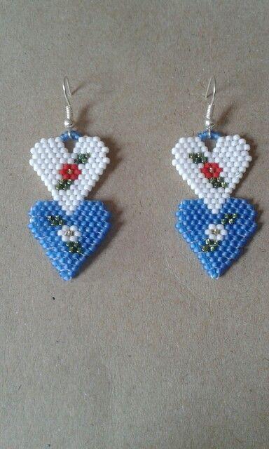 Heart beaded earrings.