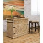 Carter Weathered Sandy Beige Kitchen Island With Marble Top