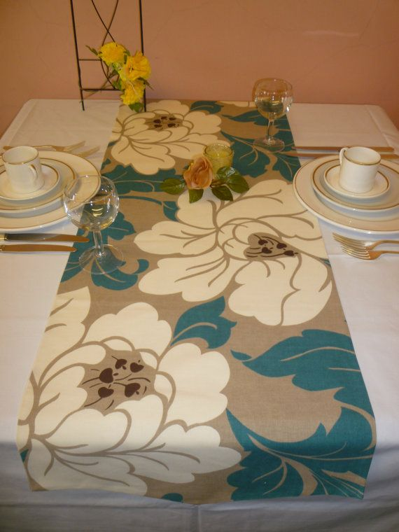Table Runner Teal Blue Cream And Taupe Funky Retro This Bed Runner Is100%  Cotton.
