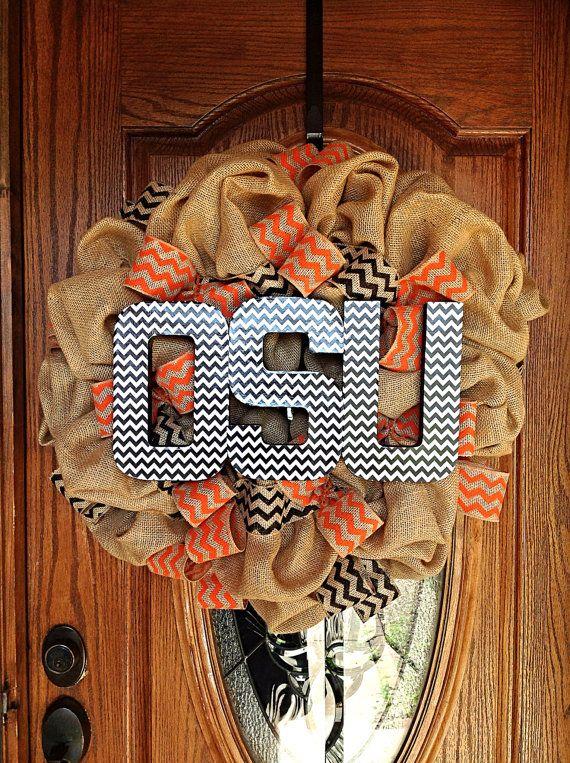 Nice Oklahoma State University OSU Cowboys Tan Burlap Wreath with Orange and Black Chevron Burlap Ribbon and Black and White OSU Letters