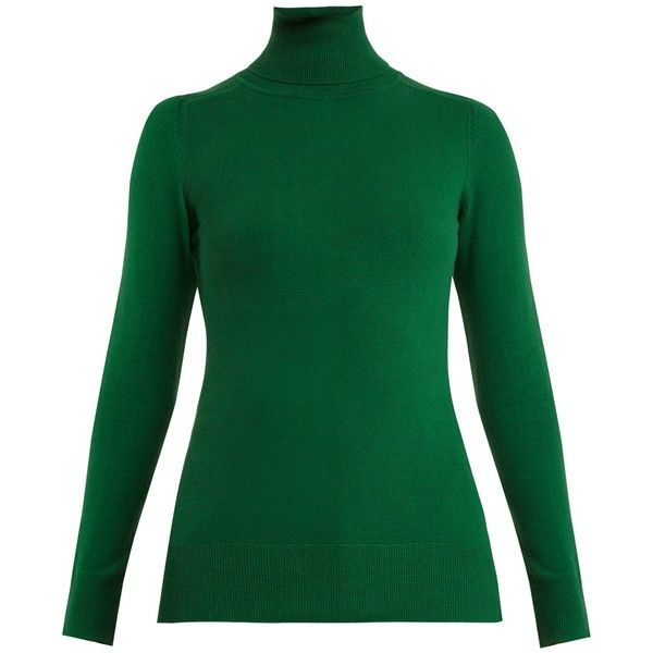 JoosTricot Roll-neck cotton-blend sweater ($354) ❤ liked on Polyvore featuring tops, sweaters, green, colorblock top, rollneck sweaters, green sweater, roll neck top and color block sweater