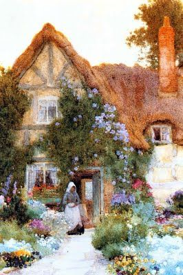 Arthur Claude Strachan (1865=1929). English Cottages. I have a weakness for thatched roof cottages.  Perhaps I lived n one in my previous life