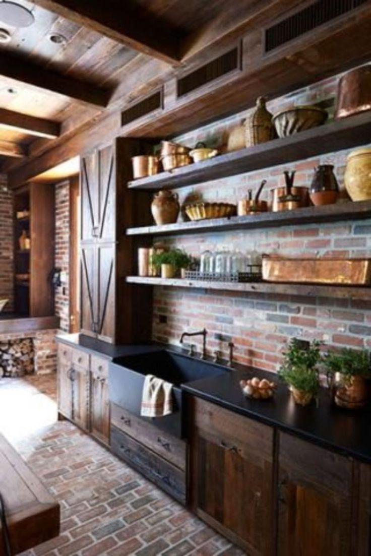 Amazing Brick Floor Kitchen Design Inspirations 15 (With