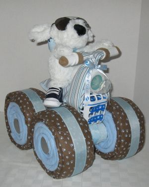 4-Wheeler, Quad Motorcycle Diaper Cake, Baby Gift Cake, Centerpiece, Baby Shower Gift by nikkistew