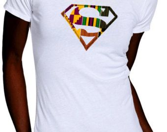 Afro Superman Ladies Tee shirt with Kente (Ankara) hand crafted applique