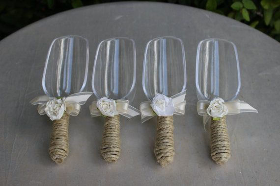 wrap your server spoons in twine? For candy buffett. Rustic Candy Scoops / Candy Buffet Scoops / by JumbledBrains, $40.00