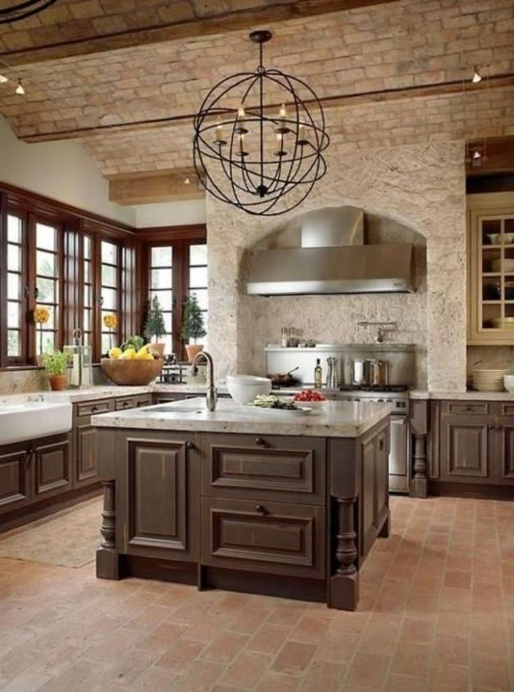 42 awesome brick floor kitchen design inspirations with images tuscan kitchen rustic on kitchen remodel floor id=51845