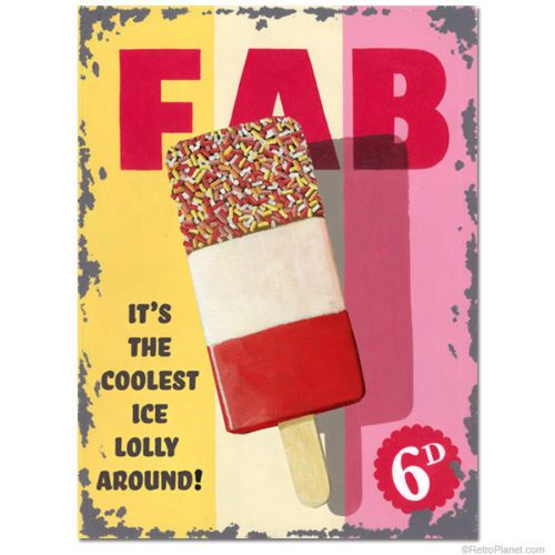 Fab Lolly, Ice Cream Vintage Shop Kitchen Cafe Food Old, Small Metal/Tin Sign