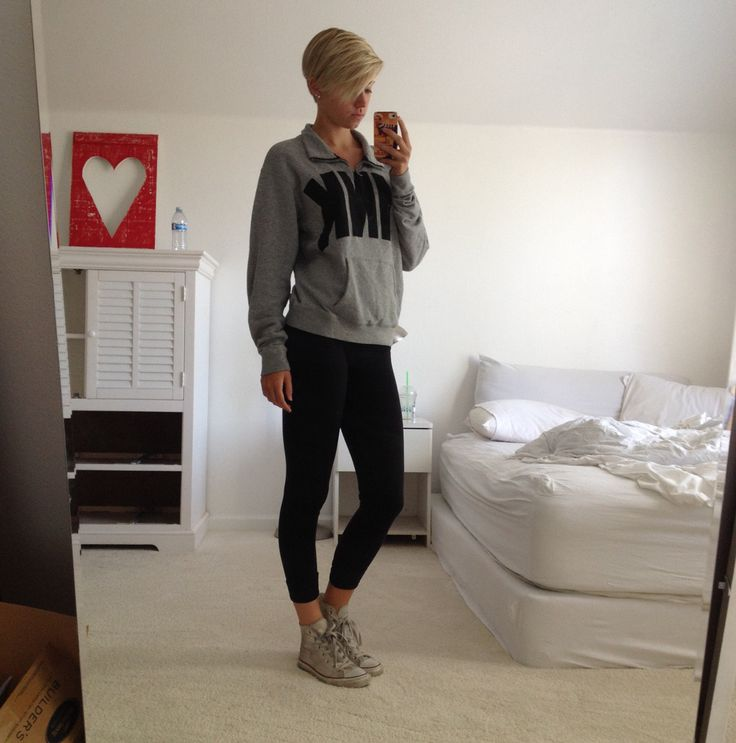 VS Pink grey half zip sweatshirt Black leggings White high top Chuck Tayloru0026#39;s | OOTD | Pinterest ...