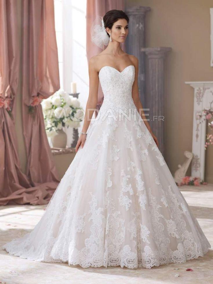 Robe de mariée princesse col en coeur sans bretelle bustier dentelle [#M1509097449] - modanie