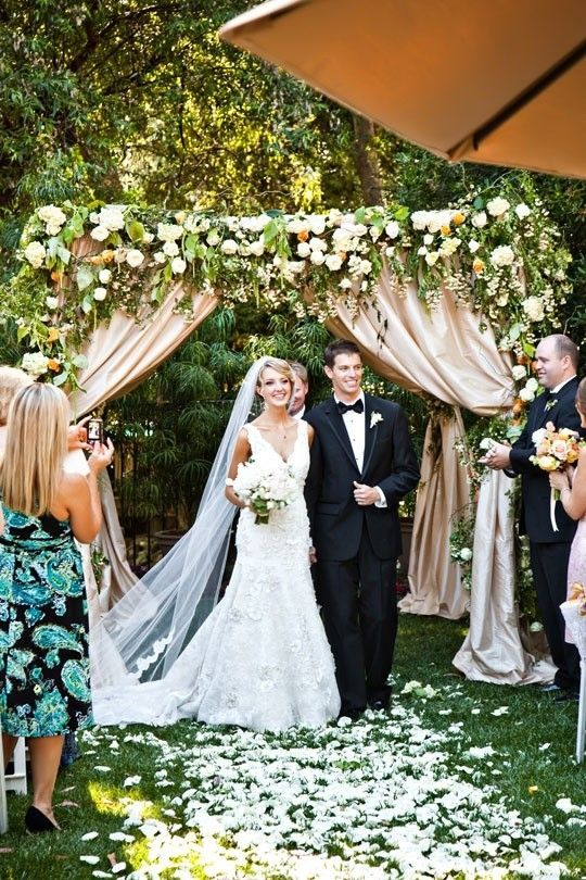 What a gorgeous Chuppah. Traditionally it represents the home the couple is making on their wedding day. I love that the draping reminds me of the tents that would have been their homes old. ~ Rev. Jude Smith / HudsonValleyWeddings.org ~ Winner 2013 Wedding Wire and The Knot Officiants Awards.