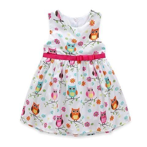 Summer girls owl round neck cotton dress  574281e063aa