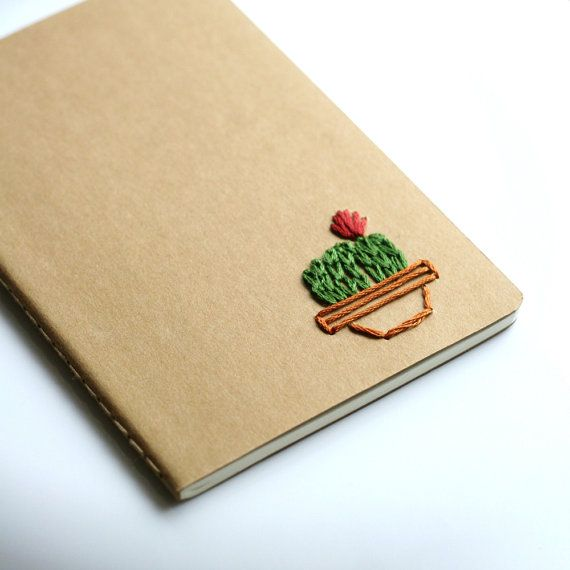 Cactus- hand embroidered moleskine pocket notebook