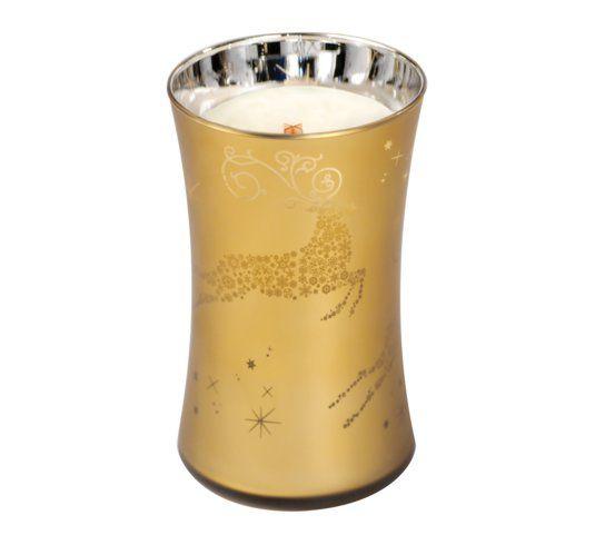 Woodwick Duża Świeca - Dancing Glass - Christmas Cake / Christmas candle