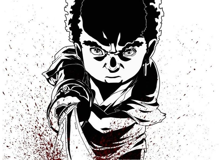 Searching the No.2.... Fanart: Afro as Kid from a scene in the Anime Movie Afro Samurai, from Gonzo Jpn. Bloodbrushes by: Matte