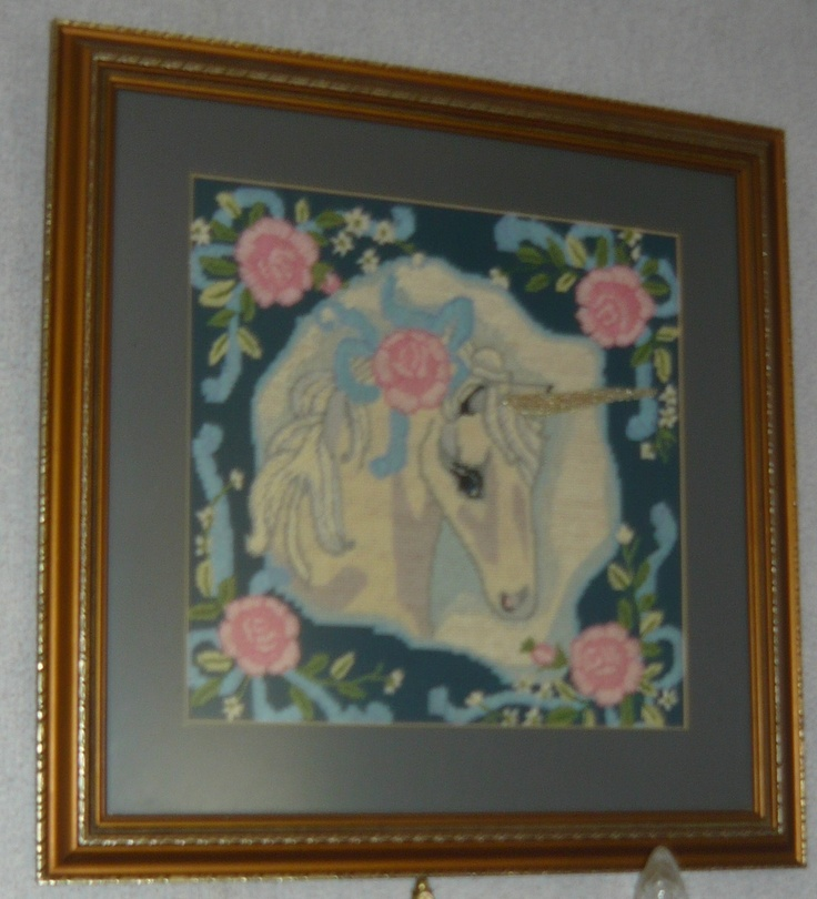 Unicorn Tapestry....I did this a long time ago.1980.from a kit from MARY MAXIM
