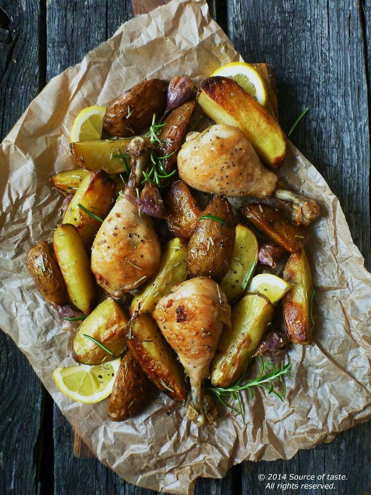 Rosemary and garlic chicken legs with potato