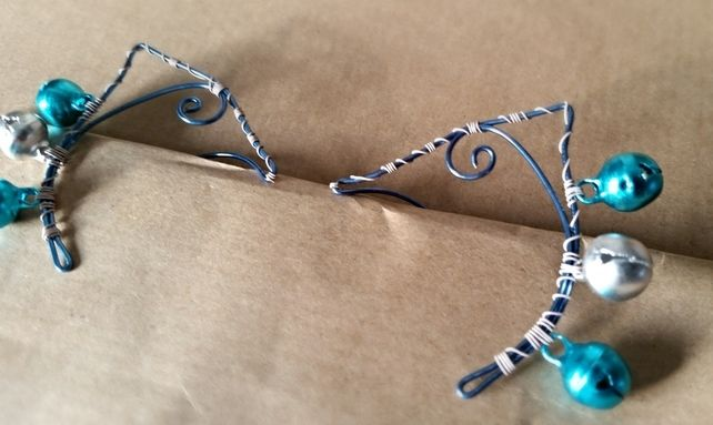 Ice Elf Ear Cuff in Blue and White with Jingle Bells. Non Pierced.  £4.95