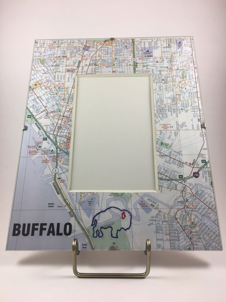 Hand-stitched Blue & Red Buffalo Map Frame