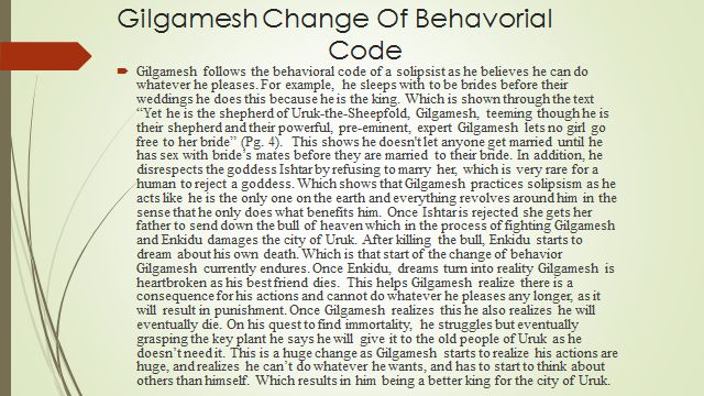gilgamesh thesis Free gilgamesh papers, essays, and research papers  the following essay  examines gilgamesh and enkidu's relationship, and the effect of enkidu's death  on.