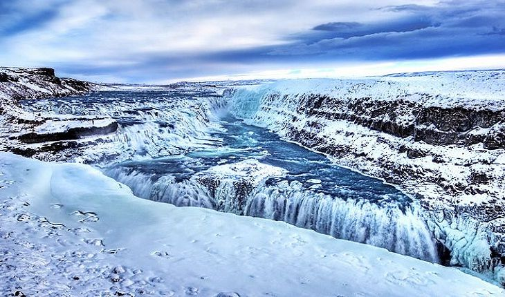 waterfall located in the canyon of Hvítá river in southwest Iceland ...