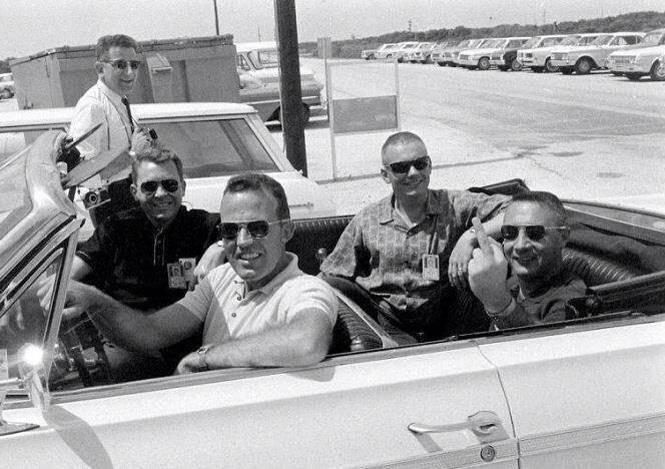 (L-R) Elliot See, Gordon Cooper, Neil Armstrong, Gus Grissom