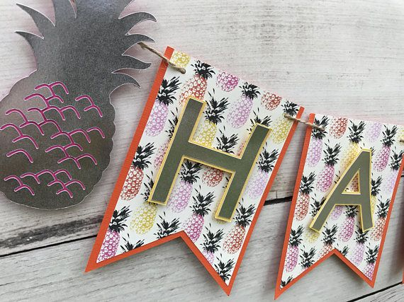 Pineapple Birthday Banner-Luau Birthday Banner in Yellow