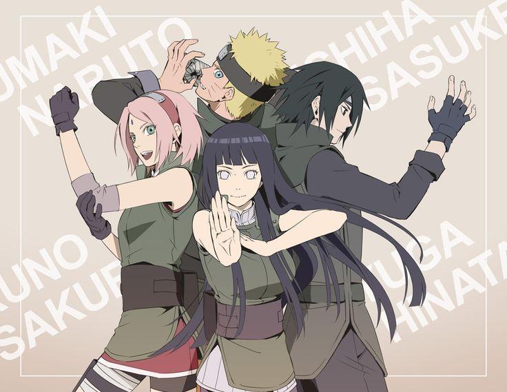 • NARUTO • Haruno Sakura  • Hyuuga Hinata  • Uchiha Sasuke  • Uzumaki Naruto  • Espalda Con Espalda • Mano Bendada • Bendaje • Vendado • Fingerless Gloves • Ojos Grises • Whiskers