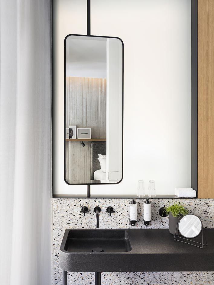 black sink & taps