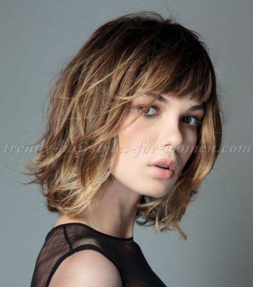 Straight Shoulder Length Hairstyles With Fringe - Wikie Cloud Design Ideas
