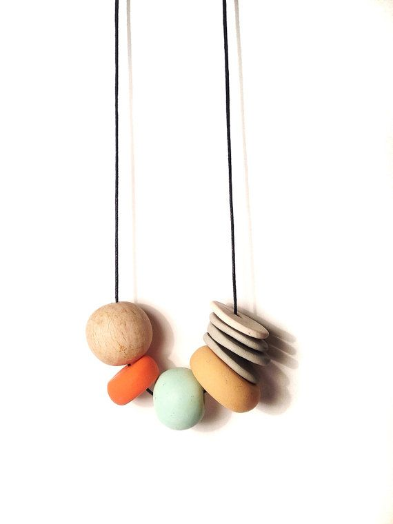 SIMPLE SONG/ madely handmade necklace / orange, mint, light peach, grey and white polymer clay and wood bead