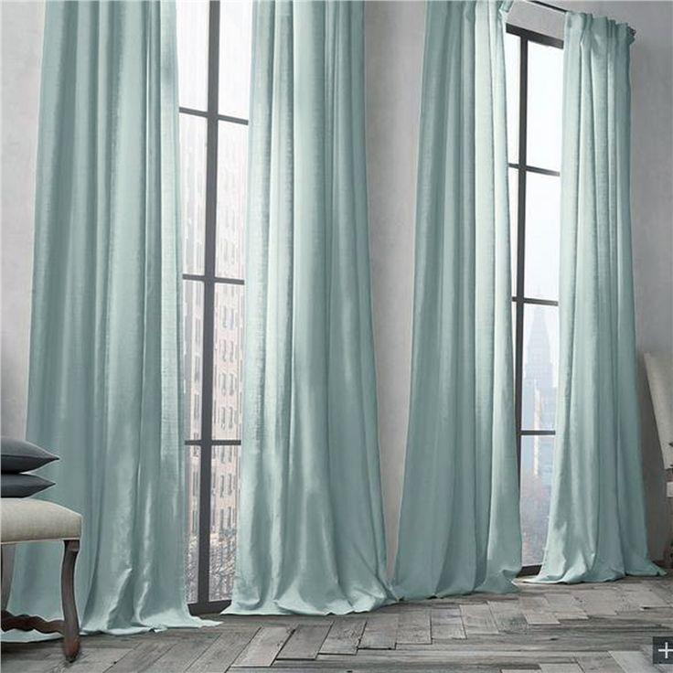 遮光カーテン 北欧カーテン ライトターコイズ 無地柄 麻&綿 3級遮光カーテン(1枚)