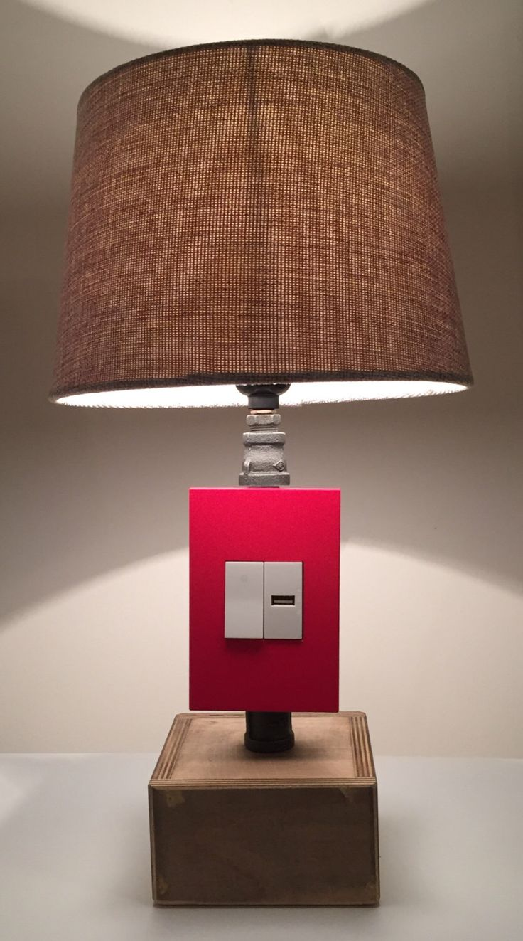 Items similar to Tall Red Industrial lamp USB Charging station - Lighting -  vintage lamp - desk lamp - table lamp - pipe lamp - home decor - office lamp  on ... - 330 Best USB Charger Lamps Images On Pinterest Pipe Lamp