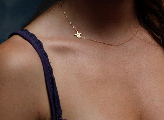 Sideways initial Necklace Gold Star Necklace by MinimalVS on Etsy, $36.00