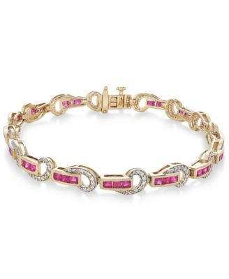 Certified Ruby (3 ct. t.w.) and Diamond (5/8 ct. t.w.) Swirl Link Bracelet in 14k Gold | macys.com