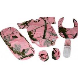 Realtree AP Pink Baby Diaper Shirt Gift Set