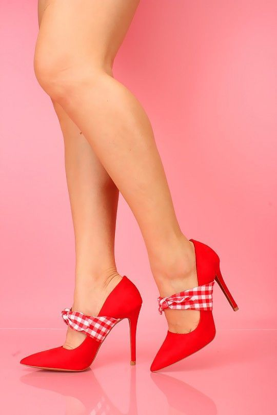 db5cdf85d1a Sexy Red Bow Gingham Print Pointy Close Toe Single Sole High Heels ...