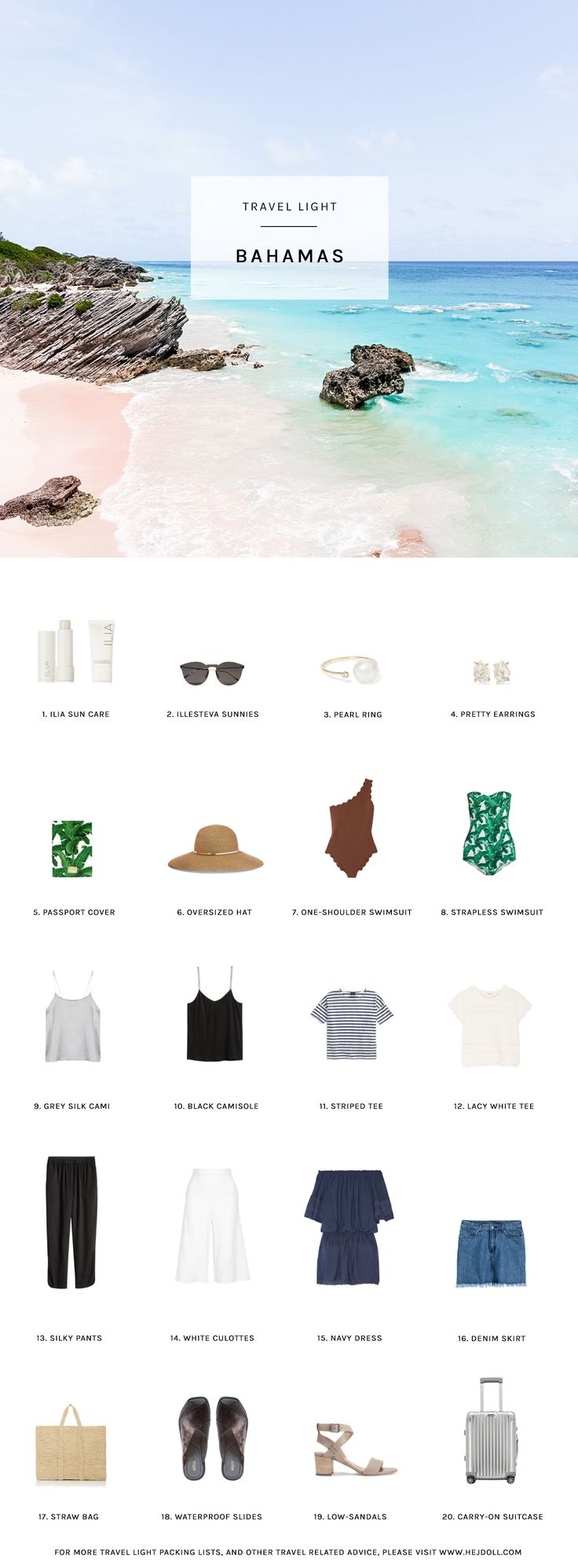 Pack for the Bahamas http://hejdoll.com/travel-light-pack-bahamas/?utm_campaign=coschedule&utm_source=pinterest&utm_medium=Jessica%20Doll&utm_content=Pack%20for%20the%20Bahamas