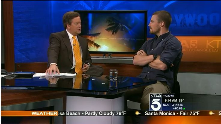 Stephen Amell in an interview with KTLA Morning News on 5/12/14
