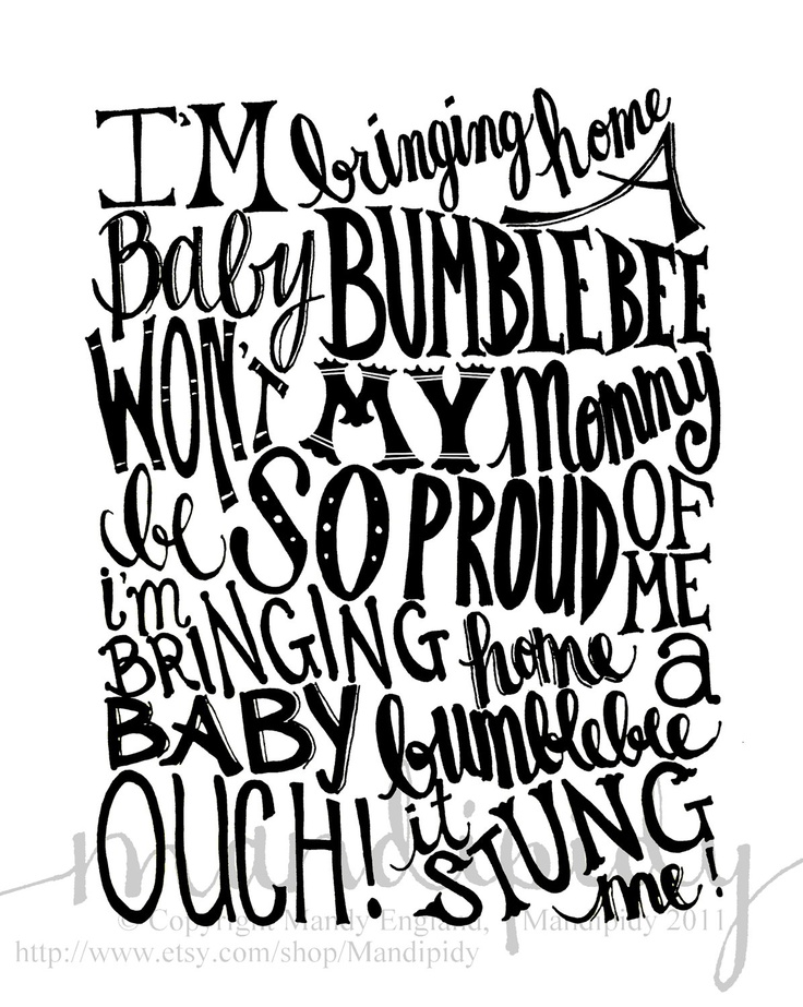 baby bumble bee print, recreate in my own style of lettering or commission with custom calligraphy or Lindsay letters.