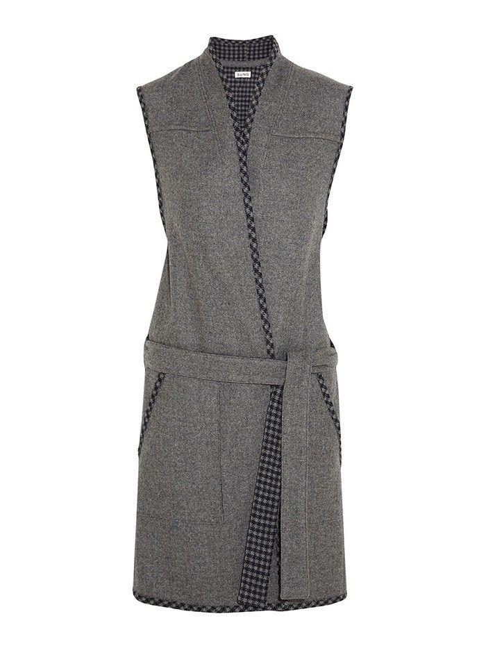 Suno Wool-blend Felt Vest in Grey