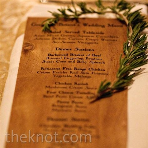 Email  Print          17     Wooden menu cards detailed the different dinner stations at the reception