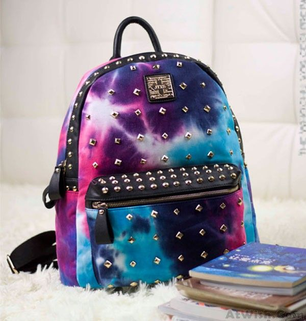 Retro Rivet Galaxy Backpack School Bags #backpack #fashion #college #rivet #school #galaxy