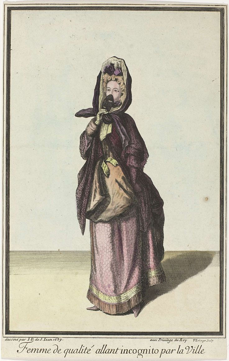 Franse prenten propageren Franse mode : Een dame gaat incognito naar de stad, Franz Ertinger, 1689