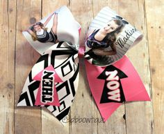 Then and Now Picture Cheer Bow