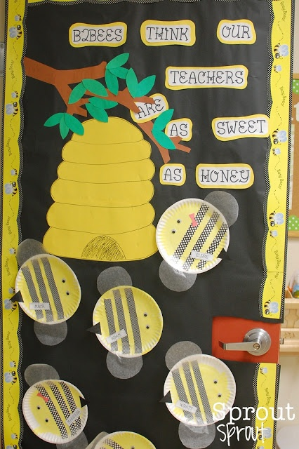 Bee themed door decoration for teacher appreciation week Buzzing with Appreciation ~ Simply Sprout